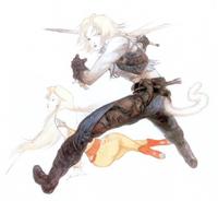 Arte de Zidane e Garnet por Yoshitaka Amano.
