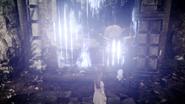 Hiso Alien dispels a magic wall in FFXV x Terra Wars collab