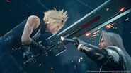 Cloud clashes swords with Sephiroth from FFVII Remake