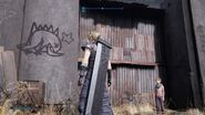Hedgehog Pie graffiti in the kids hideout in Sector 5 from FFVII Remake