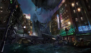 Upper Sector 8 collapsed expressway artwork for Final Fantasy VII Remake