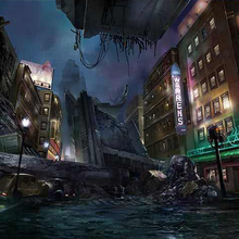 Upper Sector 8 collapsed expressway artwork for Final Fantasy VII Remake.png