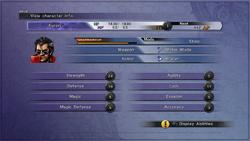 Character stats in the Status menu.