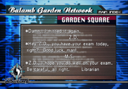 Library Girl writes to Zell in Garden message board from FFVIII R