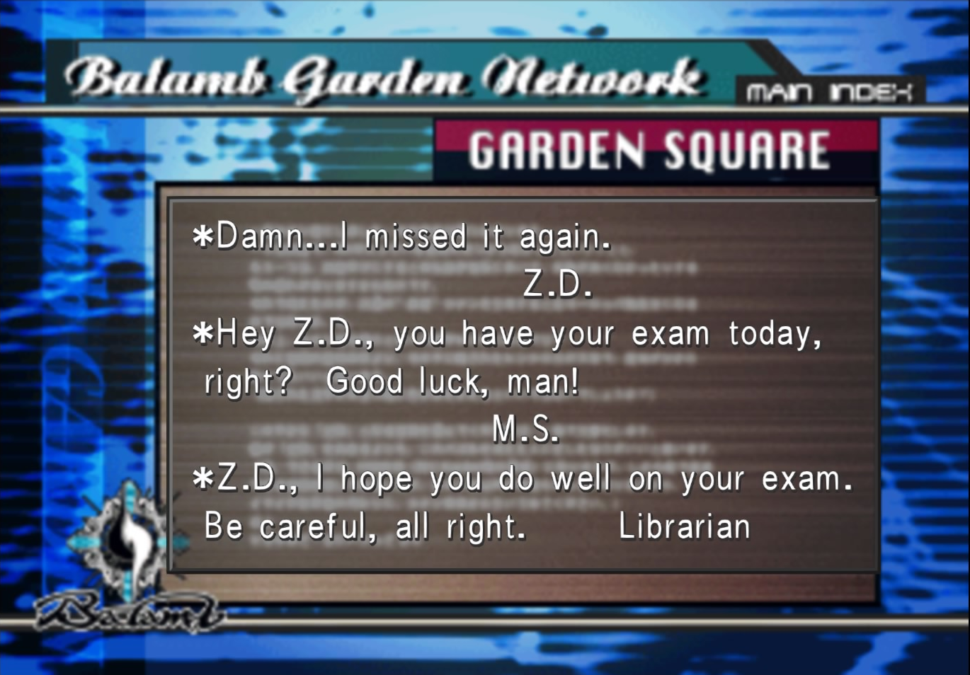 Library Girl writes to Zell in Garden message board from FFVIII R.png