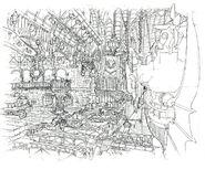Lindblum Castle Airship Dock Scene FF9 Art