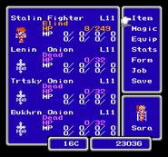 FFIII NES Main Menu 2
