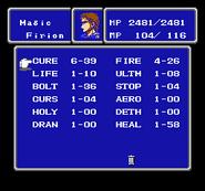 FFII NES Magic Menu