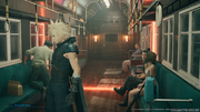 Cloud in the train in Midgar in FFVII Remake.png