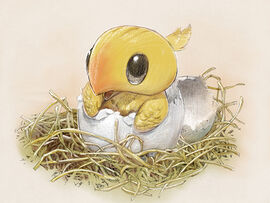 A chocobo hatching from its shell.