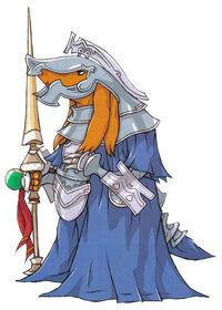 A bangaa as a Templar in Final Fantasy Tactics Advance.