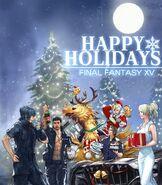 Final Fantasy XV Happy Holidays Art