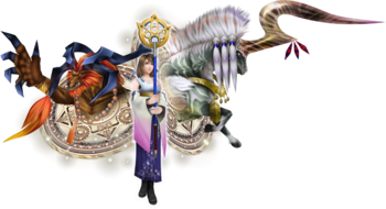 Yuna in EX Mode with her aeons in Dissidia 012 Final Fantasy.