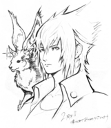 Noctis and Carbuncle artwork for FFXV 2nd anniversary