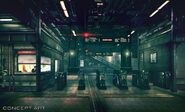 Sector 1 Reactor Train Station artwork for FFVII Remake
