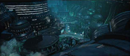 Shinra Building outside artwork for Final Fantasy VII Remake