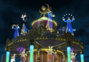 Squall leaps from the carousel clock from FFVIII Remastered