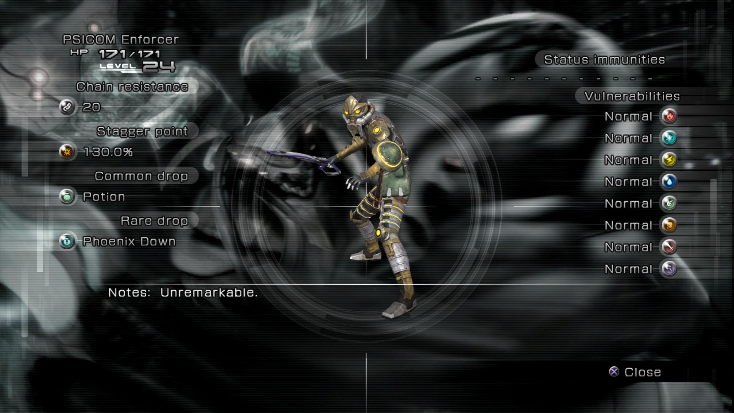 Datalog (Final Fantasy XIII)/Enemy Intel