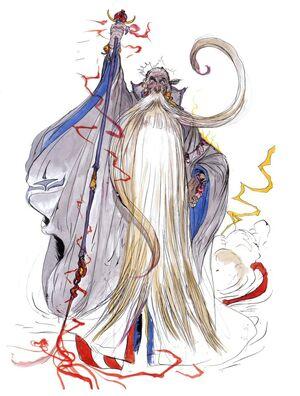Arte de Ramuh em Final Fantasy V por Yoshitaka Amano.