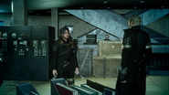 Noctis and Cor at the Kingsglaive base in FFXVRE