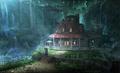 Aerith's House exterior artwork for Final Fantasy VII Remake
