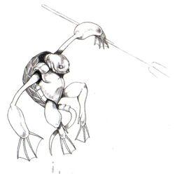 Artwork of Sahagin from Final Fantasy VII by Tetsuya Nomura.