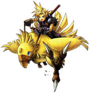 Artwork of Cloud riding a chocobo.