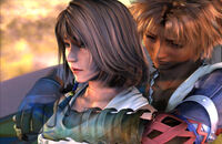 Yuna and Tidus from Final Fantasy X.