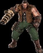 Barret Wallace from FFVII Remake battle render