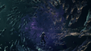 Cloud in a vortex of Whispers in the ending of FFVII Remake