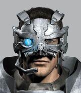 Captain Gray Edwards wearing the Revenant helmet