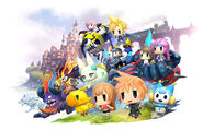 World of Final Fantasy Characters and Mega Mirage Summons
