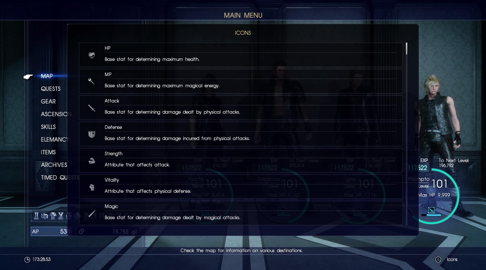 Final Fantasy XV stats
