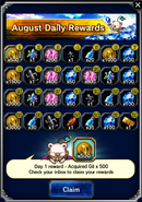 FFBE August 2016 Daily Rewards (Global)