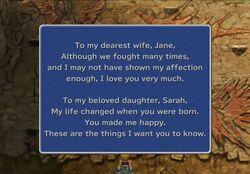 Garnet's father's message.