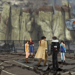 Irvine throws basket ball at Trabia Garden from FFVIII Remastered.png