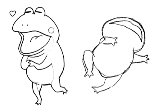 Cid frog action sketches for Final Fantasy Unlimited.png