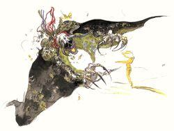 Deathgaze artwork from Final Fantasy VI by Yoshitaka Amano.
