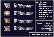 FF II menu screen