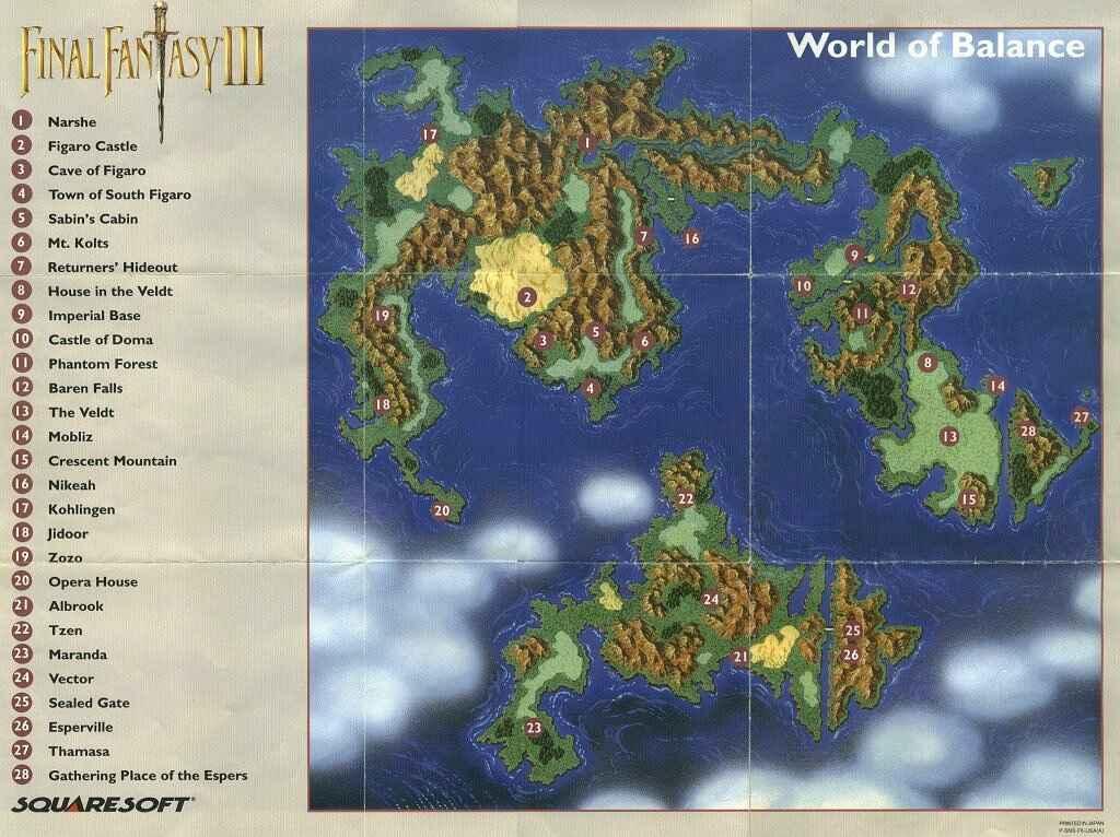 Final Fantasy 6 World Map World of Balance   Final Fantasy Wiki   Fandom