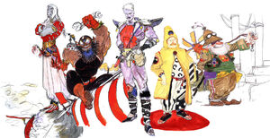 The Cid characters from (left to right) Final Fantasy III, Final Fantasy II, Final Fantasy IV, Final Fantasy V and Final Fantasy VI.