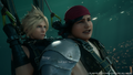 Cloud and Wedge talk while parachuring from FFVII Remake
