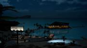 Galdin Quay resort at night from FFXV