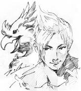Prompto and chocobo FFXV 2nd anniversary artwork