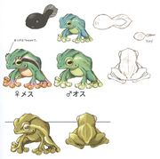 Concept art of tadpole and adult frogs.