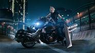 Cloud on Hardy-Daytona promo art for Final Fantasy VII Remake