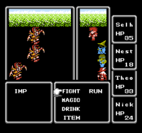 A random encounter in Final Fantasy (NES).