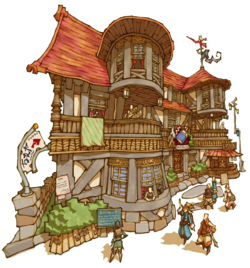 A standard Inn in Final Fantasy Crystal Chronicles: My life as a King.
