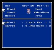 FFIII NES Equip Menu