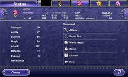 Character stats in the Status menu.